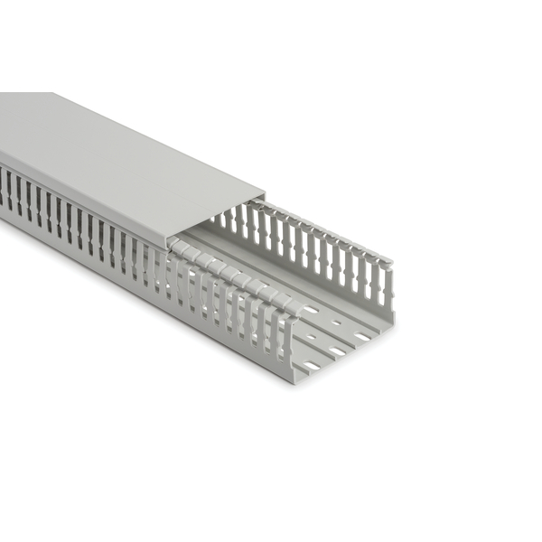 Halogen Free Slotted Wiring Duct & Cover, w/o Adhesive, 80mm x 40mm, PC/ABS, Gray, 20 m/Box