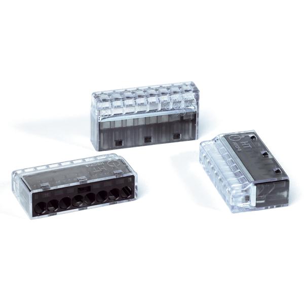 HelaCon Plus Mini, Push-In Style Wire Connector, Double Spring, 8-Port, (PC), Black, 200/pkg