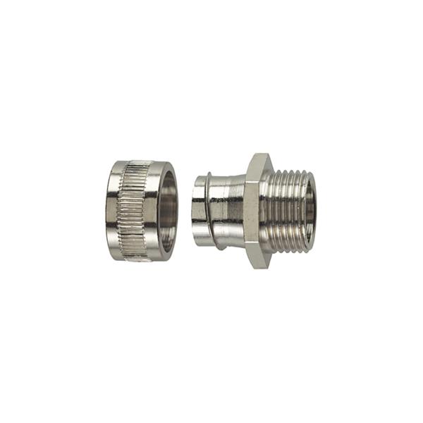 Metallic Compression Fitting, Fixed Straight, M20 Metric Thread, 1/2
