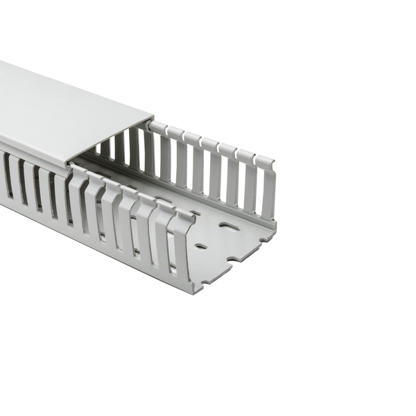 Halogen Free Slotted Wiring Duct, w/o Adhesive, 75mm x 50mm, PC/ABS, Gray RAL, 28 m/Box