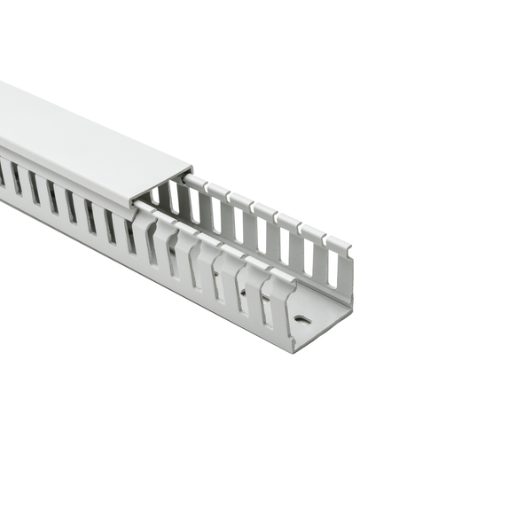 Halogen Free Slotted Wiring Duct, w/o Adhesive, 37.5mm x 37.5mm, PC/ABS, Gray RAL, 40 m/Box