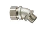 Liquid-Tight Met Comp Fitting, Flex, Ins Throat, 45-Elbow, Fixed M50 Metric Thread, 1.5