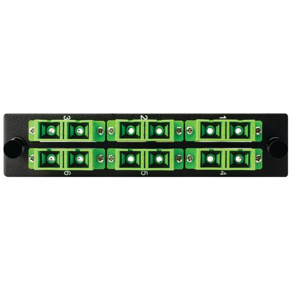 Fiber Adapter Panel Preloaded with 6 Duplex SC SMA, Green, 1/pkg