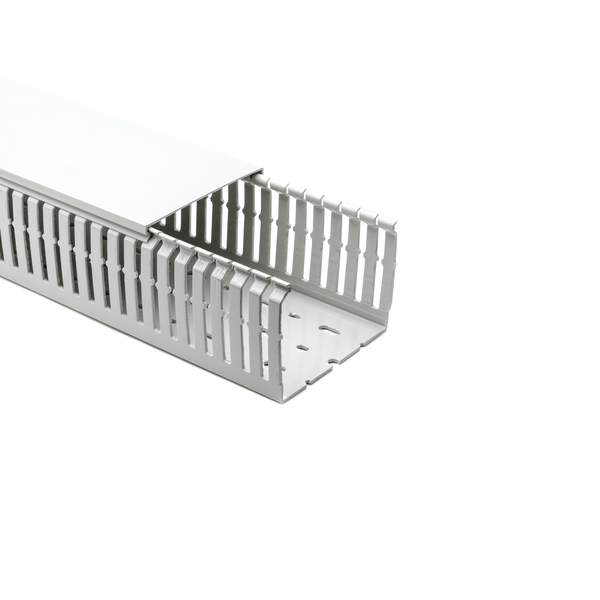 Halogen Free Slotted Wiring Duct, w/o Adhesive, 100mm x 75mm, PC/ABS, Gray RAL, 16m/Box