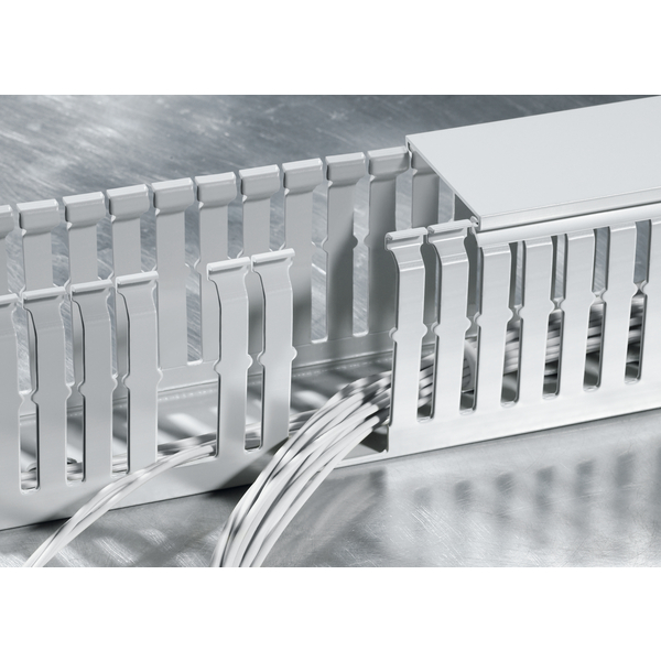 Halogen Free Slotted Wiring Duct, w/o Adhesive, 50mm x 37.5mm, PC/ABS, Gray RAL, 32 m/Box
