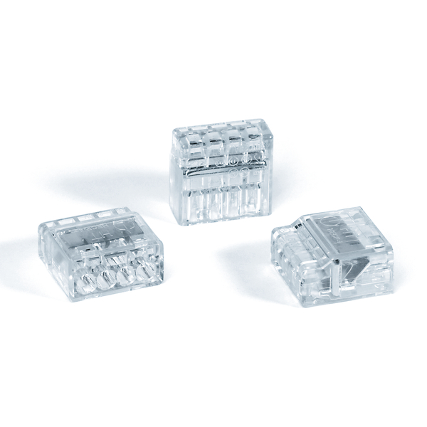 HelaCon Plus Mini, Push-In Style Wire Connector, Double Spring, 4-Port, (PC), Clear, 100/pkg