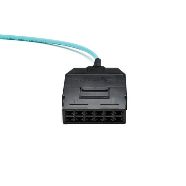 RapidNet MTP VHD Fiber Cassette to Cassette, OM3 MM Plenum Cable, Aqua, 144-fiber (72-port), 1/ctn
