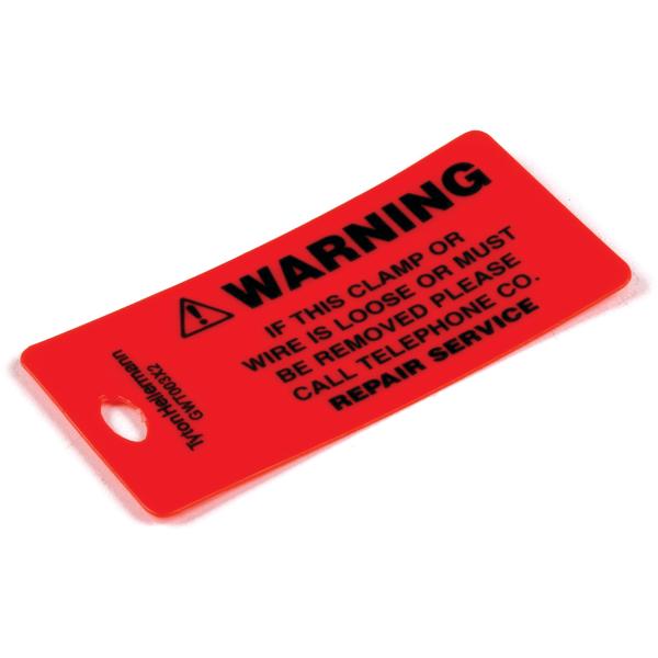 Ground Wire Tag, Cable TV Warning, Polyethylene, Orange, 25/pkg