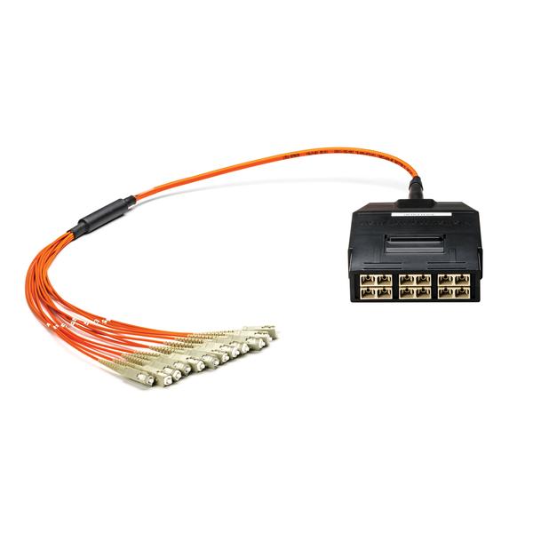 RapidNet Fiber SC Cassette to SC 2.0mm Fanout, OM2 MM Plenum Cable, Orange, 12-fiber (6-port), 1/ctn